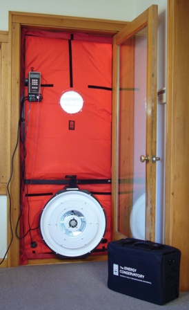 Blower doors are used to measure air leakage